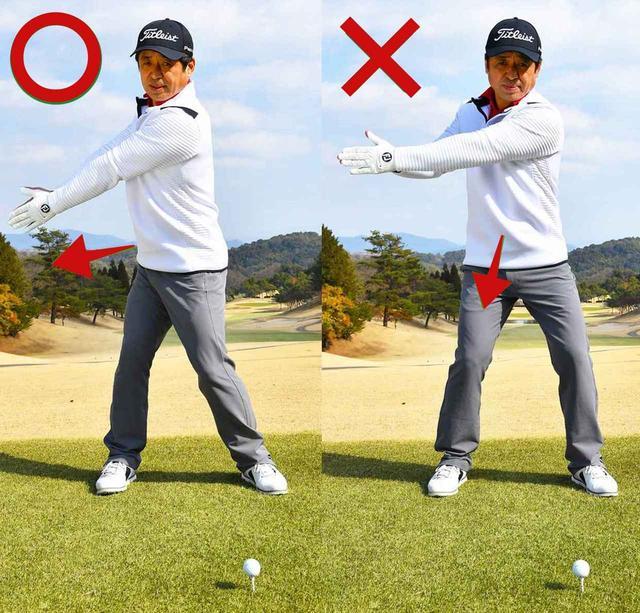 画像: おへそを右に向けてテークバック。左手の甲は下向き