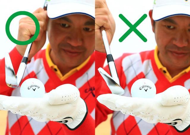 画像: ボールの赤道を打ち抜く意識を持てば、ヘッドが上から下に動くダウンブローでボールをとらえることができる
