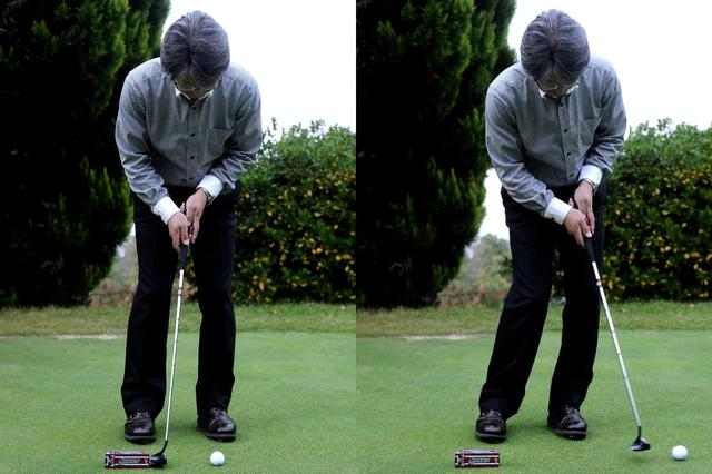 画像: トップからは積極的に下半身を使う。ヘッドを下ろすときの重力と相まって、振り幅が小さくてもよく転がる