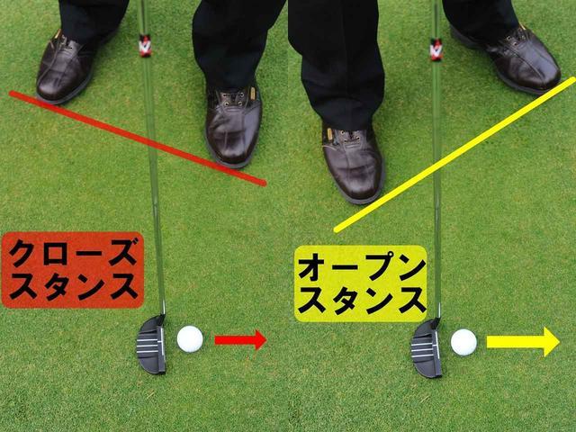 画像: 左足を引いたオープンスタンスにすると、自分お体に対してボールが右足寄りになる。視界が変化すると思に、フェースが開いても当たりやすくなる。一夫、クローズに構えるボールが左足寄りになり、フェースは閉じて当たりやすくなる。ス案すを変化させたときは、ボールの位置の調整が必要だ