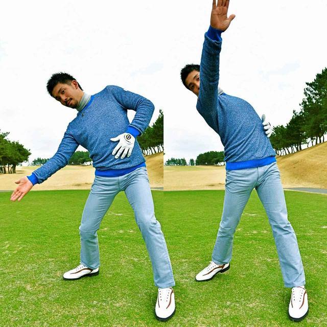 画像: インの低い位置からボールを擦り上げるように左に振り抜く。これがボールにドロー回転をかけるポイントだと伊澤はいう