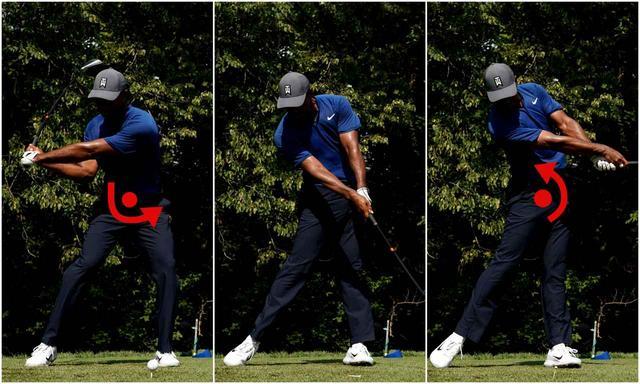 画像: 前後軸を中心に振るので、右肩はダウンで下がる