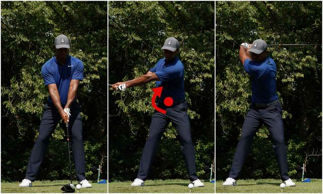 画像: 前後軸を中心に回るので、テークバックで左肩は下がる