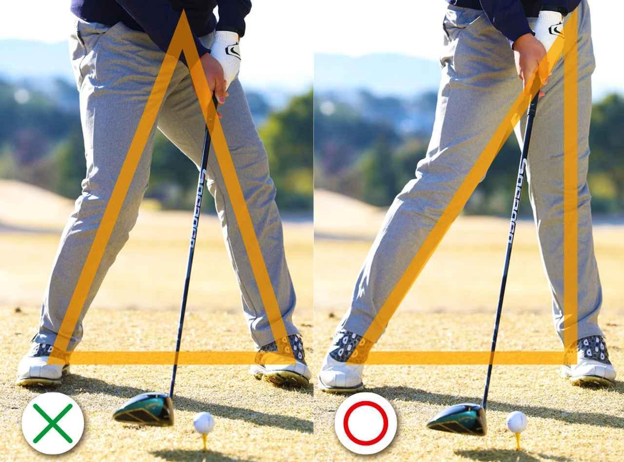 画像: (〇)左足が地面と垂直になることで、ヘッドをインサイドから入れやすくなるため、スライスが防げる (✖)スライスする人は、左腰が引けてヘッドがアウトサイドイン軌道で動く。インパクトで体の中心と両足を結ぶと、二等辺三角形になる
