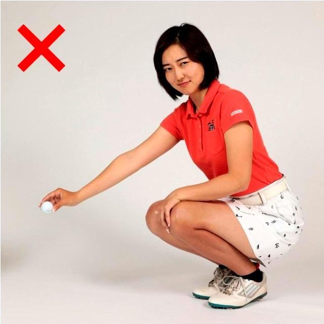 画像: これはNG。しゃがんだ時のひざの高さではいけません