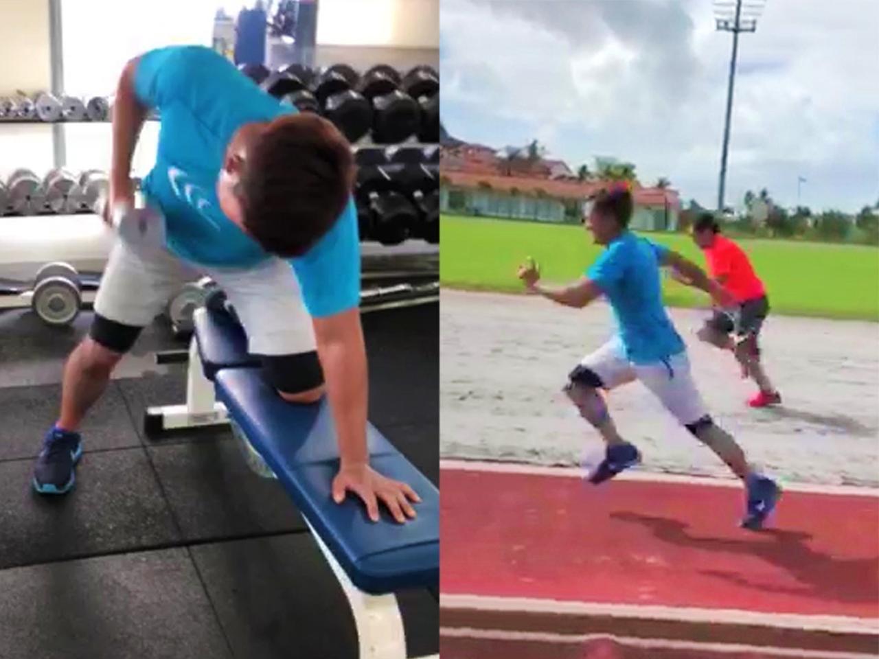 画像: どのトレーニングをするにも「全身を使った動きを意識させている」と渡辺トレーナー。120 キロのおもりでスクワットができるようになったのも、全身の筋力がついたからと言う