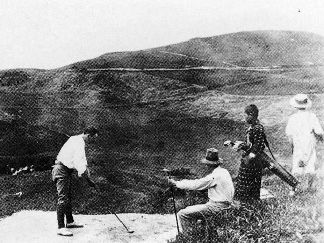画像: 1903年当時のプレー写真(神戸ゴルフ倶楽部)
