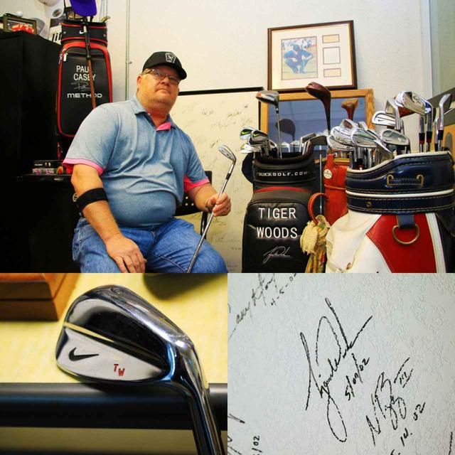 画像: 写真上)タイガーのために作った、当時のクラブ 写真右下)タイガーのサイン
