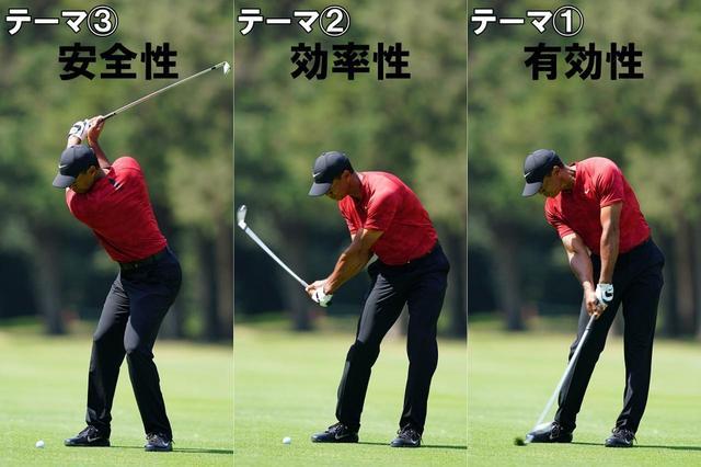 画像: テーマ1)出力を最大化して高いパフォーマンスを発揮する、テーマ2)より小さな力で、より大きな回転力スピードを生み出す、テーマ3)体への負担が少なく、ケガをしにくい持続可能なスウィング