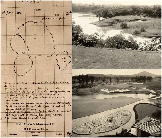 画像: アリソンが描いた廣野GC1番ホールグリーン配置(左)、13番ホール(右上)、クラブハウスから見た18グリーン(右下)