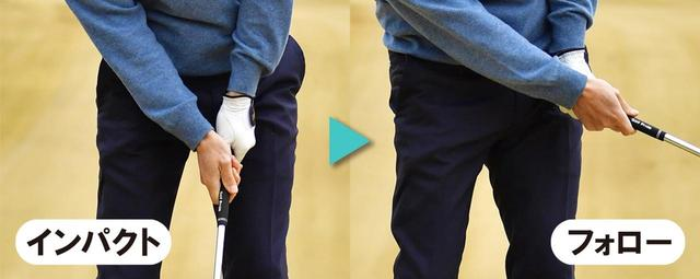画像: アドレス時の手の位置にインパクトで戻ることが前提。その後、右手首が手のひら側に折れることで、フォローサイドでフェースが空を向く