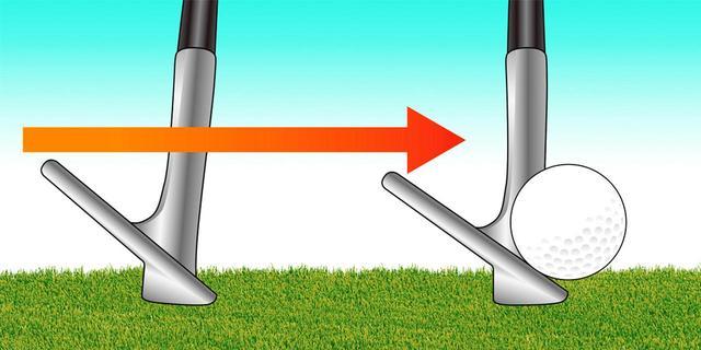 画像: 「ボールが浮いている前提で考えると、10センチくらい手前にヘッドが落ちるのが理想ですが、5センチ程度の誤差は問題ない。ソールが勝手に仕事をします。だから簡単なんです」(横田)