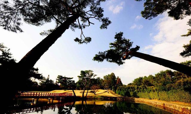 画像: 池越え18番ホールに掛かる橋と倶楽部の象徴ともいえる松の木