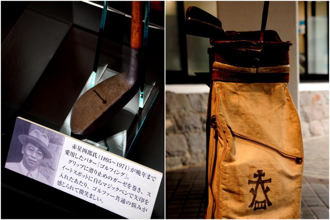 画像: 箱根CCクラブハウスには四郎のゴルフ道具が所蔵されている。ペンで描かれたキャディバッグのマークは「赤と四」を組んだもの