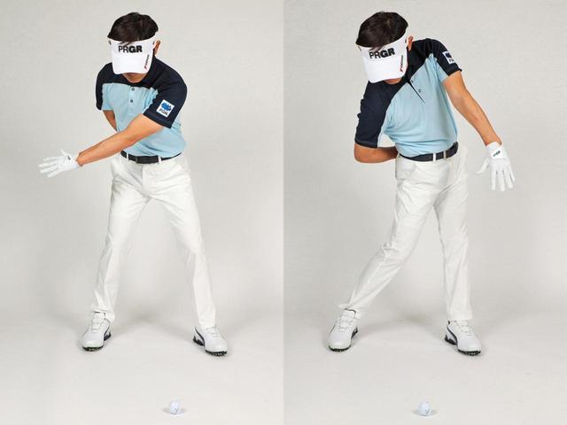 画像: バックスウィングでは、胸を右に回旋させながら、クラブを左親指方向に上げ、右手首を甲側に折る(腕はロールしない)。そして、ダウンからフォローにかけては、右手首を甲側に折ったまま、胸の回旋で打ち、クラブはリリースしない