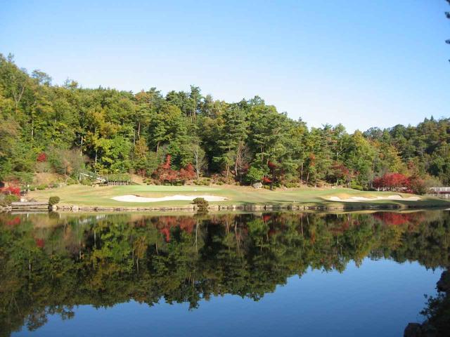 画像: 17番ホール/189㍎/パー3 ホール名「しょうぶ池」。やや打ち下ろしの池越え。池越えには110ヤード