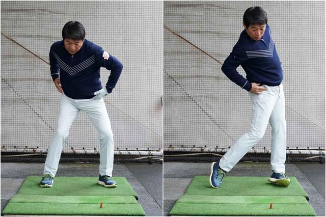 画像1: タテ並べでわかること 左足を踏み込んで、左ひざが伸びてターン。切れ上がる腰の回転