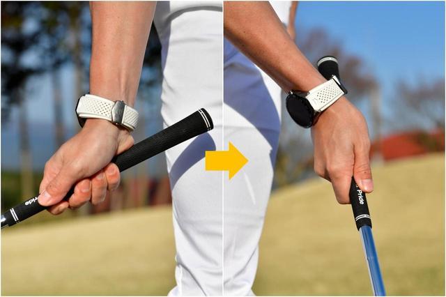 画像: ロフトを立てたままアプローチするのが転がしのコツ。アドレス時の右手首の角度をキープしたままスウィングすればロフトが変わらず球を転がせます