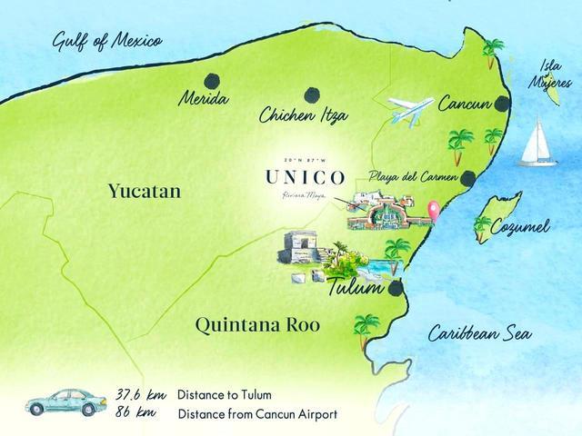 画像: 北がメキシコ湾、東がカリブ海に囲まれたユカタン半島の東岸沿いに建つ五つ星ホテル「UNICO20°87°」