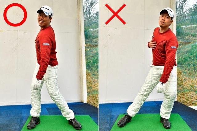 画像: 右写真のように胸を回すときに、頭が流れると反力が使えない