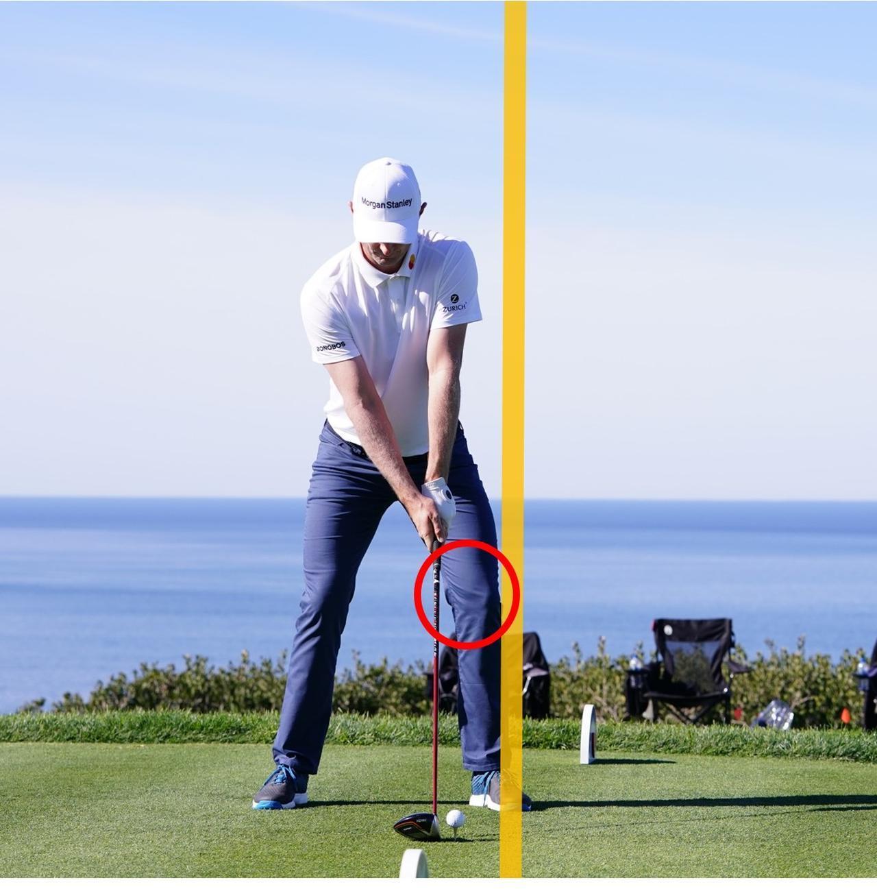 画像: 左足の軸を意識したアドレス