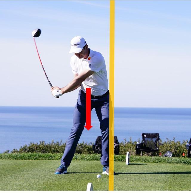 画像: 切り返し直後に左足が戻り、下向きに力を加えている