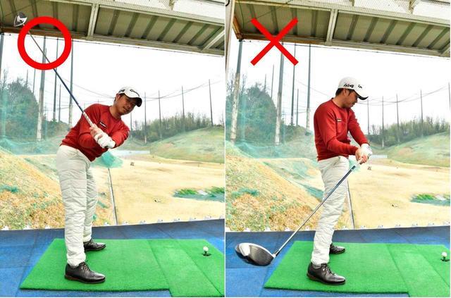 画像: 「右わき腹を縮めるように動かすと、お尻と上体が引っ張り合って前傾をキープできる。腰が前にでると反動で頭が上がり、クラブヘッドは垂れてしまいます」(黒宮)