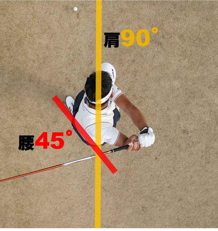 画像: 【トップで腰は約45度。肩はほぼ90度回る】左ひざを正面に出しながら、胸を右に向けるようにする。手は胸の前から離れないように。