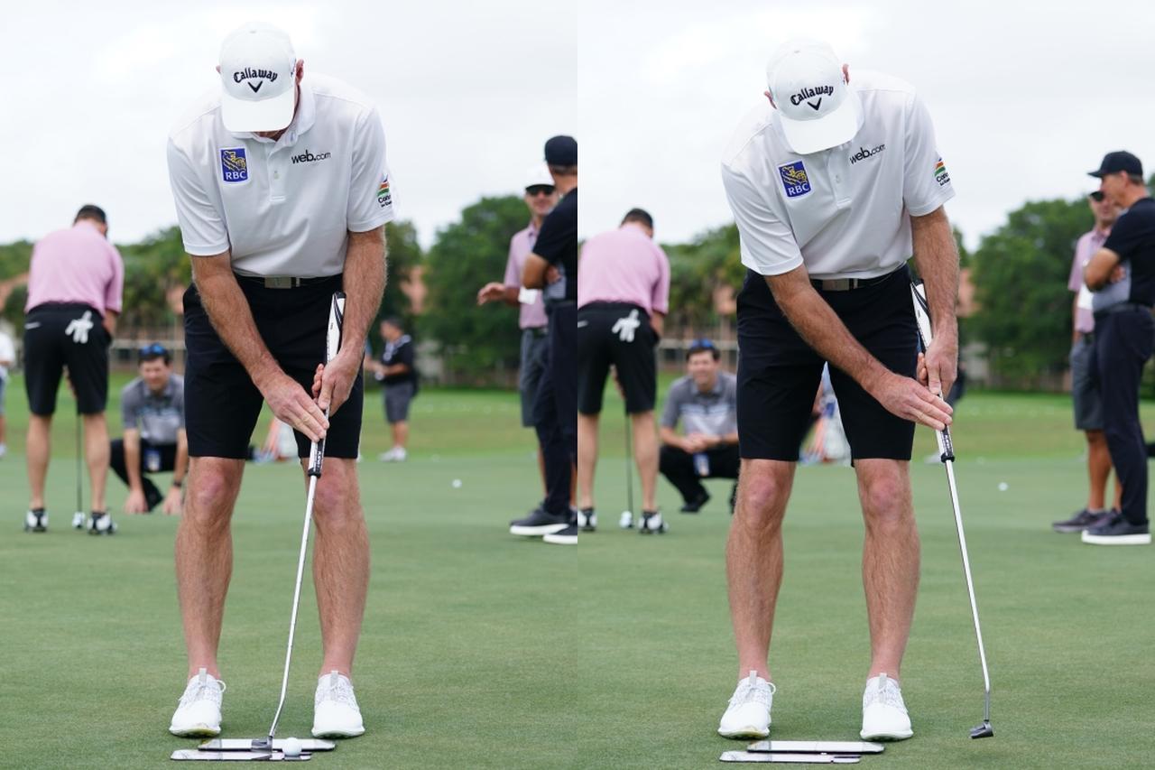 画像: アームロックのメリットのひとつが、左肩を支点に左腕主体で打てること。右手が悪させずストロークがスムーズになる