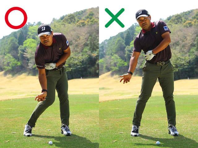 画像: ダウンスウィングで右わき腹を縮めようとすれば、自然に腰が回転し、上体の前傾角度も保てる。わき腹が伸びると、体全体が伸び上がる
