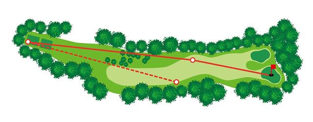 画像: ティショットは、怖れず正面の林を越えてフェアウェイ左に。右グリーンの場合はフェアウェイの左サイドにティショットを置くのが鉄則。また龍ヶ崎CCには120個のバンカーがあるが、このホールにはひとつもない
