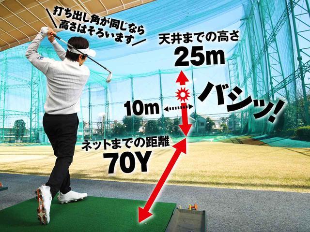 画像: 距離70ヤードの練習場で1階打席からの場合、下から約16メートルのところに当てると、7Iで150ヤード飛んでいる