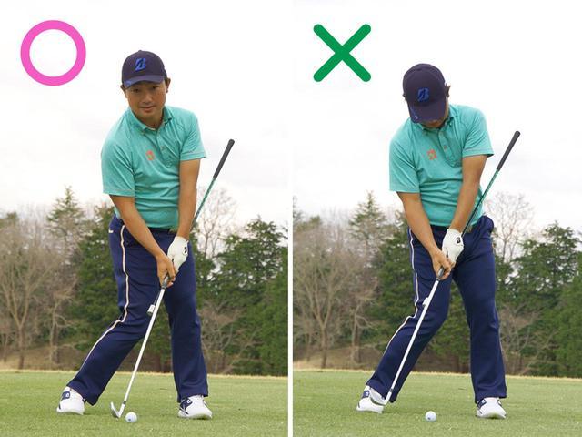 画像: 手元はヘッドより前で、ロフトが当たってインパクト。グリップに棒を足して振るとわかりやすい。腰が止まると、延長したクラブが体に当たって邪魔をする