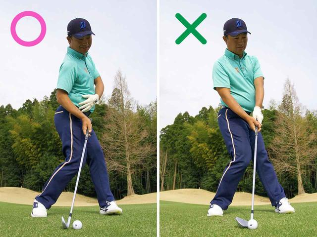 画像: 〇左足内側を軸に右腰を左に押し込む