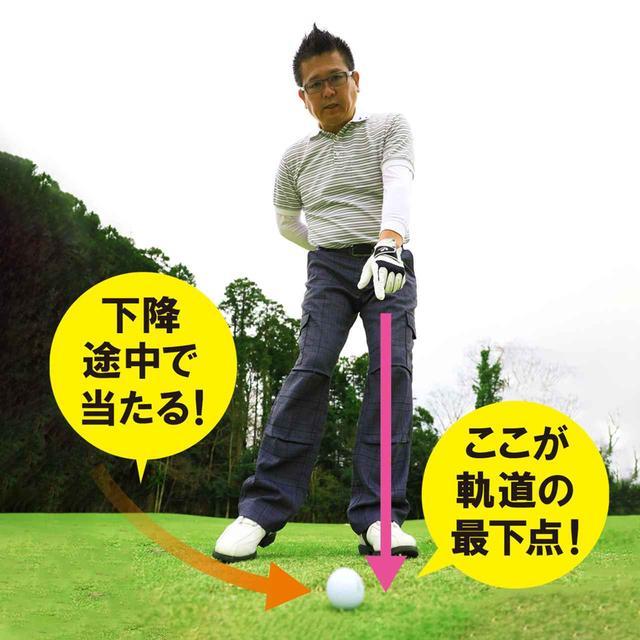画像: 最下点がボールの先に来る状態を作っておく