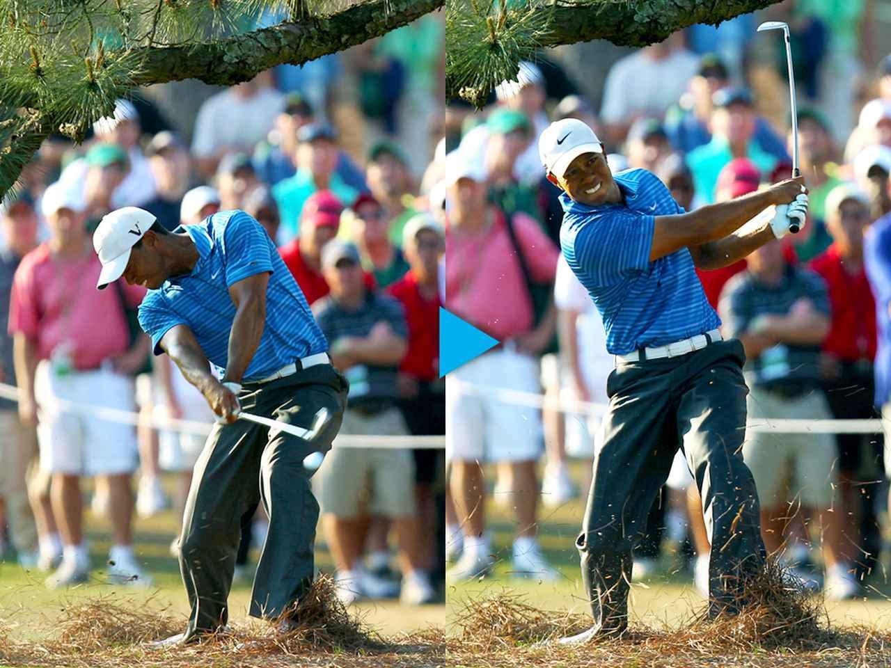 画像: 前方に木が立ちはだかり、斜め上にせり出しているため、右から低い強烈なフックで回さないと脱出できない状 況。強烈なフェースターンを体全体で行っているため、フィニッシュは低い位置におさまる