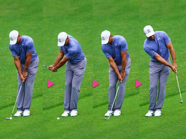 画像: フォローまで右手甲の角度が変わらないのがわかる
