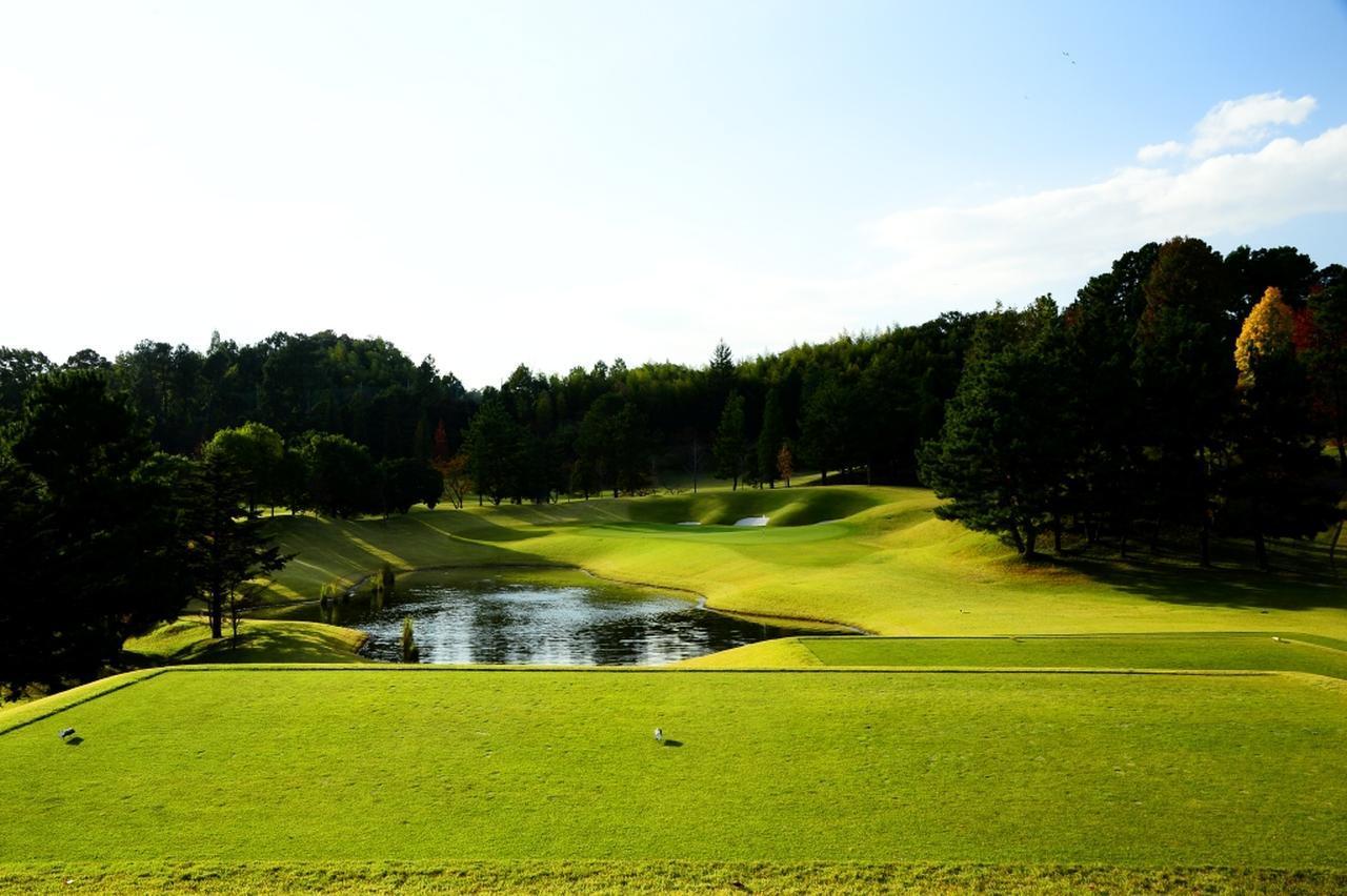 画像: 西コース3番(195Y・P3)グリーンの左に外すとボールは池に転がり入ってしまう。グリーンは2段、右からが常套