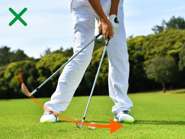 画像: トップの形を意識すると、ボールに向かって打ちに行くことになる。いわゆる当てにいく状態