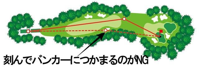 画像1: 11番は左足下がりになってもドライバーで攻めるか、バンカーの手前に刻むか
