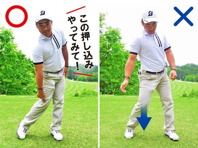 画像: ダウンスウィングで右ひざが前に出ると、ハンドファーストに打てない