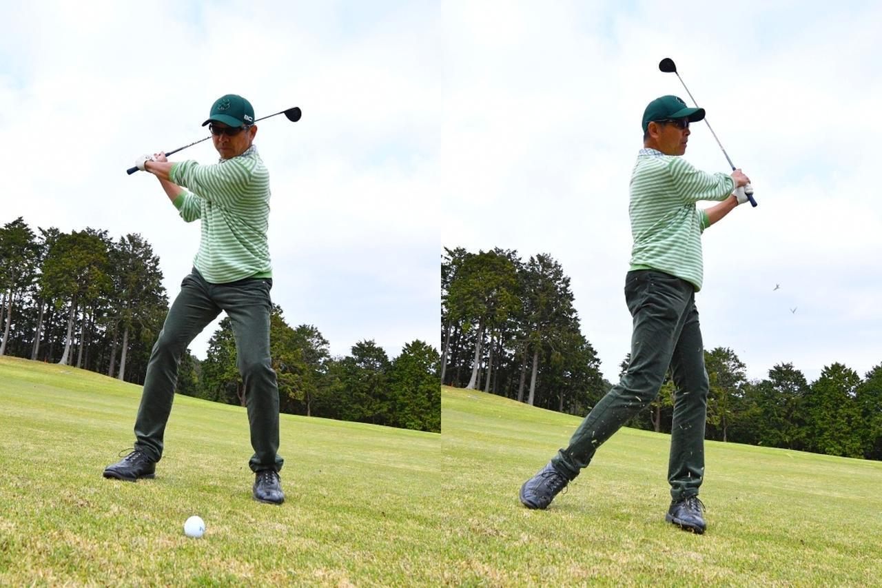 画像: UTでフェアウェイをキープしたら、左足下がりの2打目は傾斜を利用してFWでランニングアプローチする感覚で、ハーフショットで意図的にゴロを打ち、花道まで運ぶ