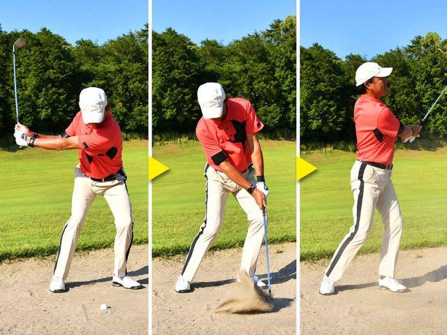画像2: 【ポイント】左足体重のままヘッドを上から落とす