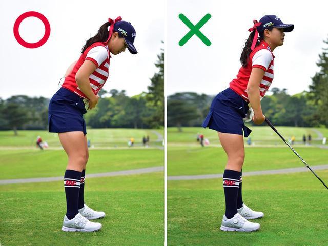 画像: 〇背中が直線になり回転しやすくなる、×お腹に力を入れないと反り腰になる
