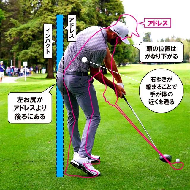 画像: PGAツアーの選手の中でも、尻の動きが大きいのが特徴。特に、ダウンスウィング後半からインパクトに欠けて、左の尻を大きく後ろに引き、腕の通り道を作っている