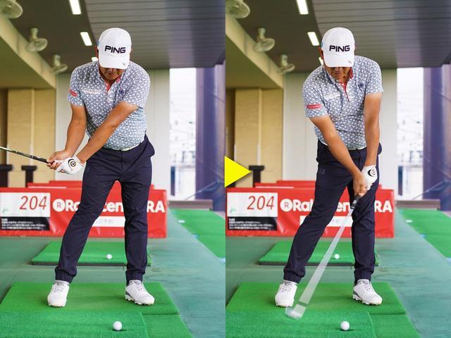 画像: インパクトの下半身の形を崩さないまま、ボールを打とう