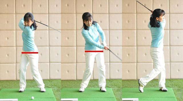 画像: オーバーローテーション→下半身の動きが不十分。骨盤→水平状態。地面反力が活かしきれない
