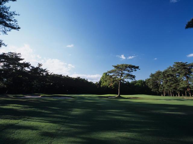 画像: 東コース1番ホール(505Y・P5) グリーン周りは3つのガードバンカーと赤松の木