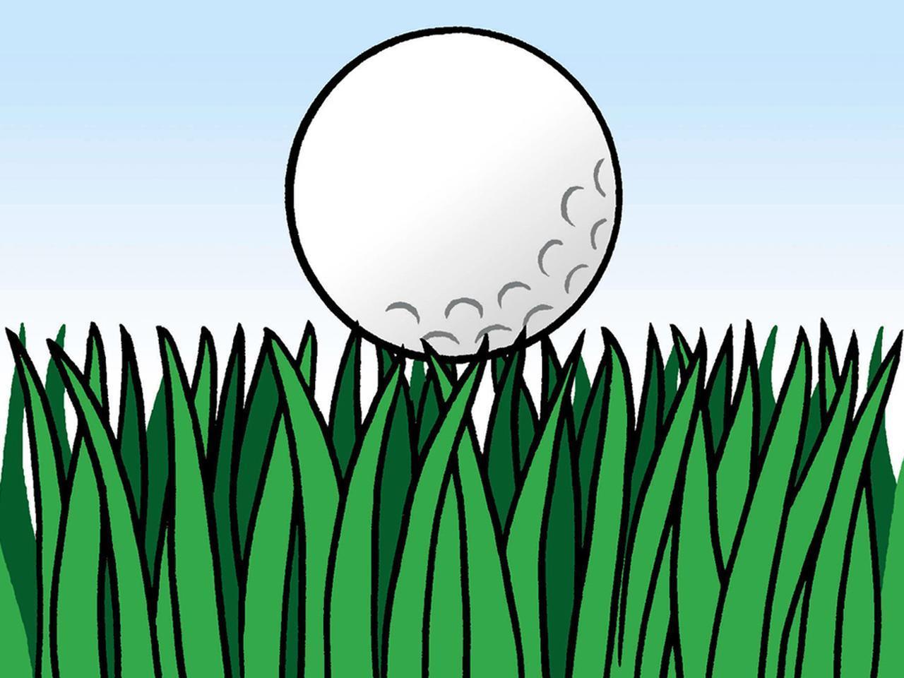 画像: 長いラフの上にボールが乗っている「浮いたライ」