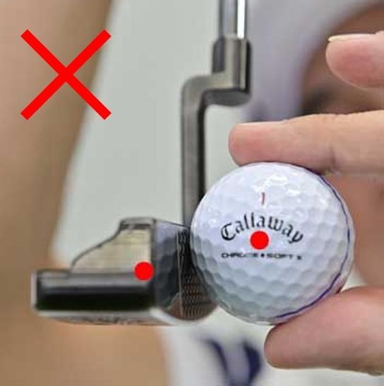 画像: ヘッドが低いと上っ面に当たる。ハンドファーストで打つ人はますます差が大きくなるので注意